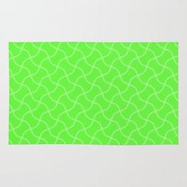 Bright Neon Green Tennis Ball Seams Repeating PatternBright Neon Green Tennis Ball Seams Repeating P Rug