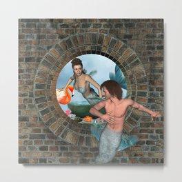 Mermaid Merman Love Fantaseas Metal Print