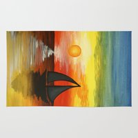 tequila Area & Throw Rugs featuring Tequila Sunset by William Gushue