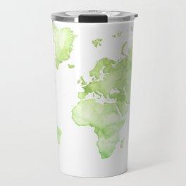 Green watercolor world map Travel Mug