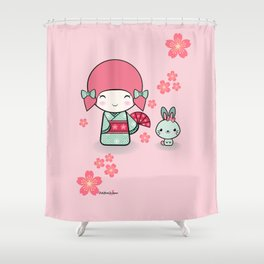 Kokeshi doll - Keiko e Usagi Shower Curtain