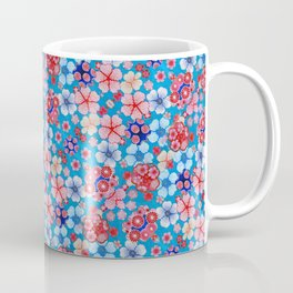 Blue Cascading Floral Chirimen Coffee Mug