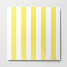 Maize yellow - solid color - white vertical lines pattern Metal Print