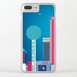 Dallas, Texas - Skyline Illustration by Loose Petals Clear iPhone Case