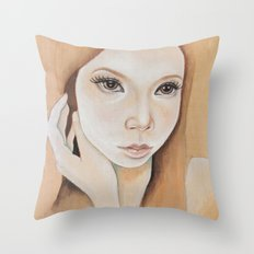 Self Portrait on Wood Throw Pillow
