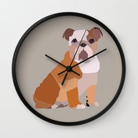 english bulldog Wall Clocks featuring English Bulldog by ANIMALS + BLACK