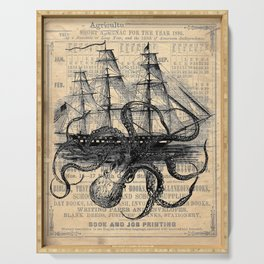 Octopus Kraken attacking Ship Antique Almanac Paper Serving Tray