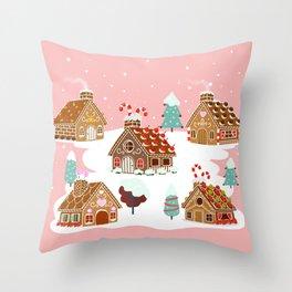 Gingerbread Village Throw Pillow