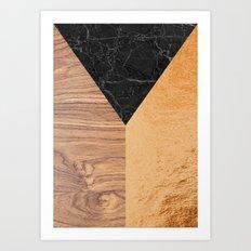 Copper Marble Wood Art Print