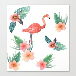 Flamingo Coral Exotic Floral with palms , hibiscus and protea Canvas Print