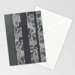 Silver Monstera Stripes Pattern Stationery Cards