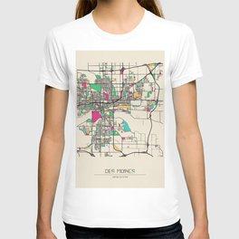Colorful City Maps: Des Moines, Iowa T-shirt