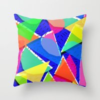 80s Throw Pillows featuring 80s shapes by Sarah Bagshaw