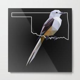 Oklahoma – Scissor-Tailed Flycatcher (Black) Metal Print