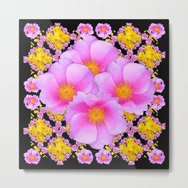 Cerise Pink Roses Black-Gold Floral Pattern Art Metal Print