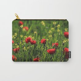 Field with green grass, yellow & red wild flowers in a sunny day Carry-All Pouch