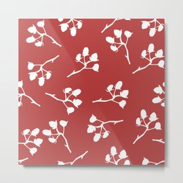 Berry Christmas Pattern, red background Metal Print