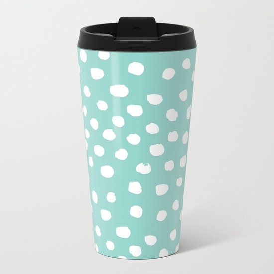 Minty mini painted dots polka dots mint pastel dotty trendy gender neutral must have dorm college  Metal Travel Mug