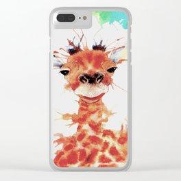 Grinning Giraffe Clear iPhone Case
