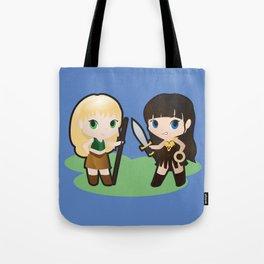 Geek Babies: Xena & Gabrielle Tote Bag