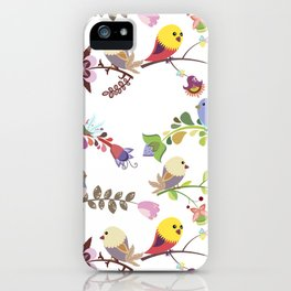 Birds and flowers iPhone Case