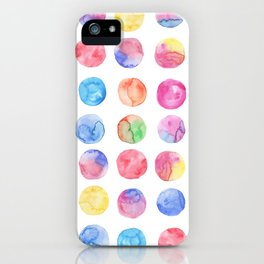 Artistic hand painted pink blue green watercolor brush strokes polka dots iPhone Case