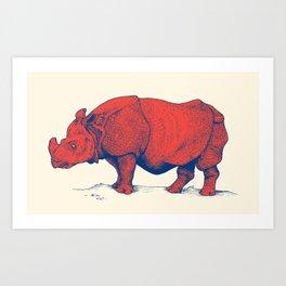 Red Rhino Art Print