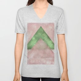 Pink and Green Triangles Geometric Abstract Unisex V-Neck