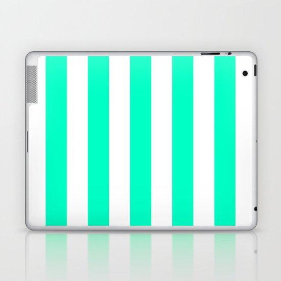 Mint White Stripes Laptop & iPad Skin