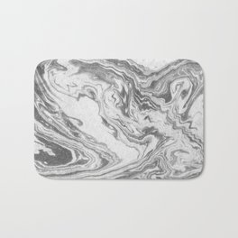 Akio - black and white grey minimal modern abstract marble painting retro minimalism urban bklyn Bath Mat