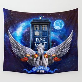 The Angel with Tardis Wall Tapestry