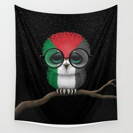 Baby Owl with Glasses and Palestinian Flag Wall Tapestry