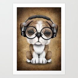 English Bulldog Puppy Dj Wearing Headphones and Glasses Art Print
