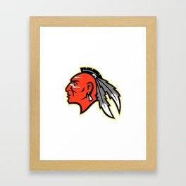 Mohawk Brave Warrior Head Side Mascot Framed Art Print