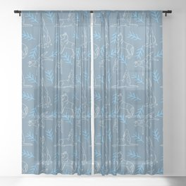 Siberian Husky Pattern (Blue-Gray) Sheer Curtain