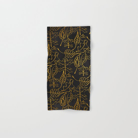 AUTUMN 1 - gold leaves on chalkboard backround Hand & Bath Towel