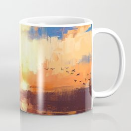 beautiful painting showing sunset on the lake Coffee Mug