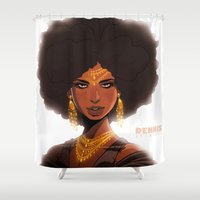 crown Shower Curtains featuring CROWN by DennisARTWORKS
