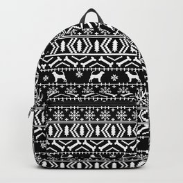 Bloodhound fair isle christmas sweater black and white minimal dog silhouette holiday gifts Backpack