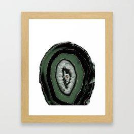 Green Black Agate with Rose Gold Glitter #1 #gem #decor #art #society6 Framed Art Print