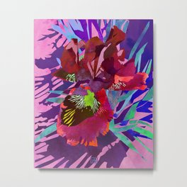 Watercolor Iris Flower with Shadows - Red & Violet Metal Print
