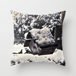Snow Bird Resort Throw Pillow
