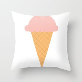Strawberry Ice-cream Throw Pillow