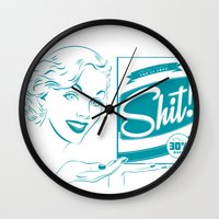 shit Wall Clocks featuring Shit!  by Plan 9 Design