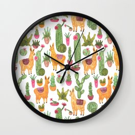 watercolor alpaca clique with cacti and succulents Wall Clock