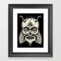 Three-Eyed Skull with Unibrow Framed Art Print