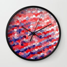 Red white blue mosaic tile abstract Wall Clock