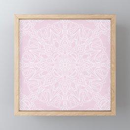 White Mandala on Pastel Pink Linen Textured Background Framed Mini Art Print