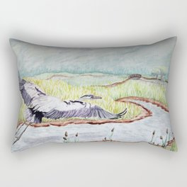 Flight of the Great Blue Heron, Trojan Oregon painting Rectangular Pillow