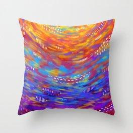 Rainbow strokes Throw Pillow